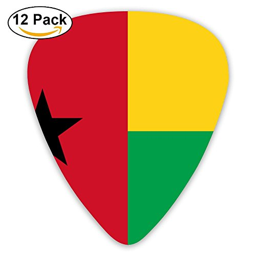 SLADDD1 Flag Of Guinea-Bissau Classic Stylish Colorful Guitar Picks Plectrums For Electric Guitar, Acoustic Guitar, Mandolin, And Bass - 12 Pack