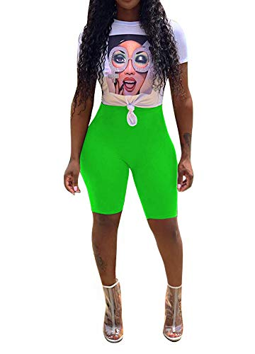 Women Sexy 2 Piece Outfits Summer Short Sleeve Crop Top and Biker Shorts Sets Rhinestone Graphic Print Tie Front Knot Skinny Leggings Party Club Night Jumpsuit Romper Green, Small