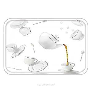 Franela de microfibra antideslizante suela de goma suave absorbente Felpudo alfombra alfombra alfombra Falling té tazas, platillos y Pot _ 587552170para interior/exterior/cuarto de baño/cocina/Estaciones de trabajo