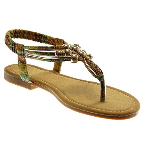 Angkorly Damen Schuhe Sandalen Flip-Flops - Slip-On - T-Spange - Knöchelriemen - Perle - Fantasy - Golden Blockabsatz 1.5 cm Camel