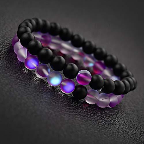 Gatton 2Pcs Distance Bracelets Lovers Couples Matching Gift Matte Agate 8mm Bead Stone | Model BRCLT - 41788 |
