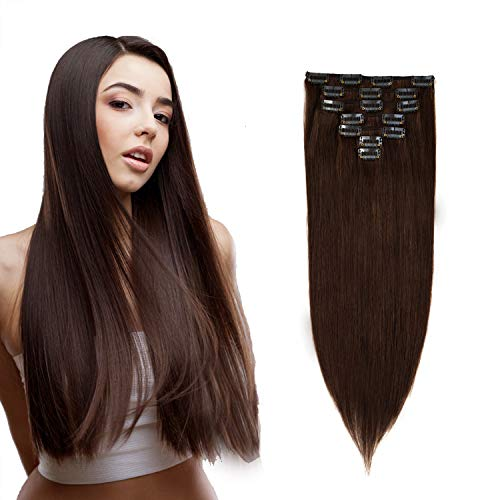 (Uya hair Brazilian Clip In Hair Extensions Straight Human Hair Double Weft 20