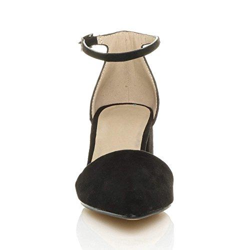 Suede Heel Block Sandals Ajvani Womens Work Strap mid Ankle Ladies Shoes Pointed Diamante Court Party Black gqwaZBSw