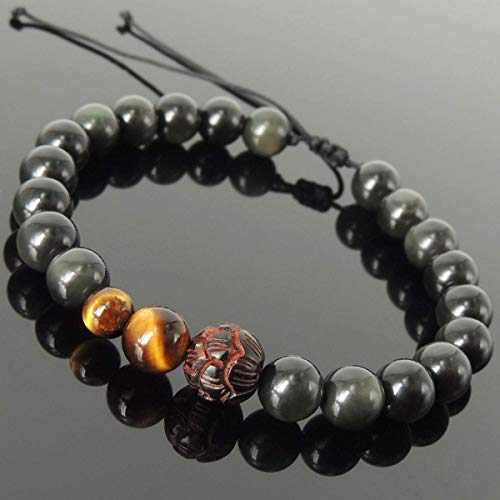 Carved Wooden Lotus Soothing Gemstone Jewelry Handmade Braided Bracelet with Rainbow Black Obsidian, Grade AAA Brown Tiger Eye, Adjustable Drawstring