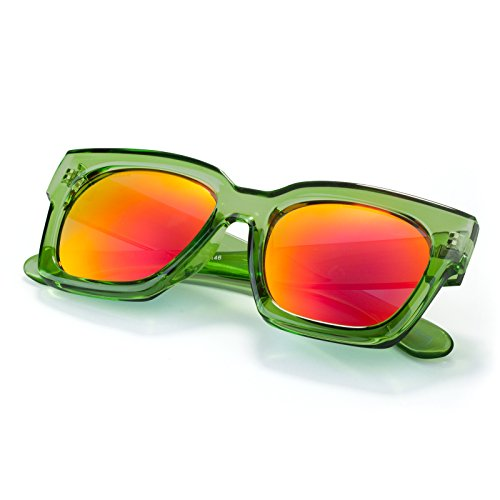 Unisex Fashion Sunglasses Oversized Square Frame Colorful Lenses For Small - Sunglasses Colorfull