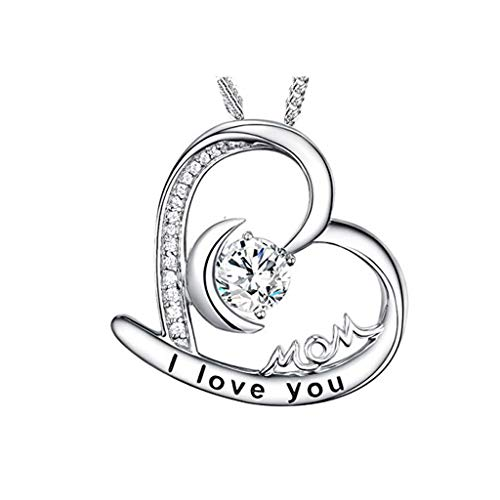 Haluoo Sterling Silver I Love You Mom Pendant Necklace Crystal Love Heart Necklace Simulated Birthstones Necklaces, Jewelry for Women, for Mom, Wife, Aunt, Grandma, Mother's Birthday Gift (Silver)