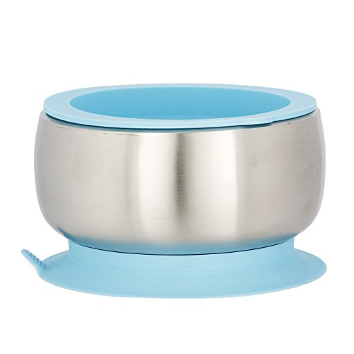 Steel Feeding Set (Avanchy Baby Feeding Stainless Steel Spill Proof Stay Put Suction Bowl + Air Tight Lid - Great Baby Gift Set (Blue))