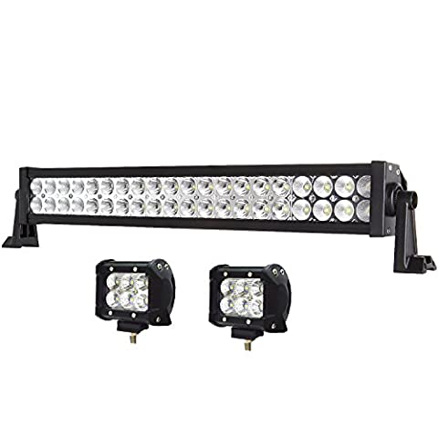Enk 20 Inch 120W LED Work Light Bar Flood Spot Combo Beam Waterproof for Jeep Off-road SUV ATV Pickup Toyota Wagon Truck with 2 Pcs of 4 Inch 18W - Mustang Dual Pod