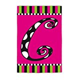 Twirly Curly Monogram Garden Flag Size: 18″ H x 12.5″ W, Letter: C For Sale