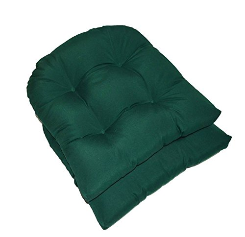 Set of 2 - Universal Tufted U-shape Cushions for Wicker Chair Seat - Solid Hunter / Dark Green - Indoor / Outdoor -