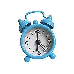 Homyl Mini Lovely Twin Bell Metal Small Round Silent Table Alarm Clock for Kid's Room Decor Birthday Gift - Blue, 4x6.5cm