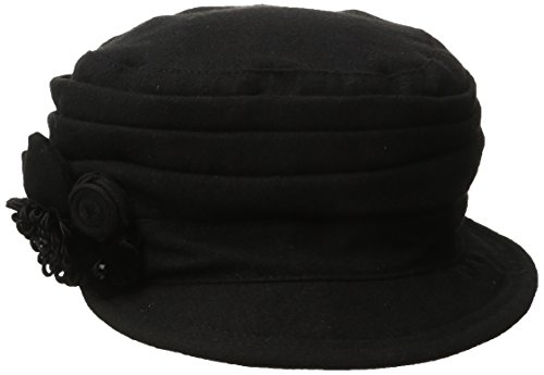 Nine West Women's Pleated Worker Cap with Flower, Black, One Size