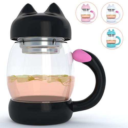 Cute Cat Tea Mug Cup – With Strainer/Infuser - Cat Lover Gifts for Cat Lovers and Women - Cat Themed Stuff Items Presents Gift - Portable Black Coffee Travel Glass Mugs and Cups - Kitty Mug Lid 14oz by Adeson