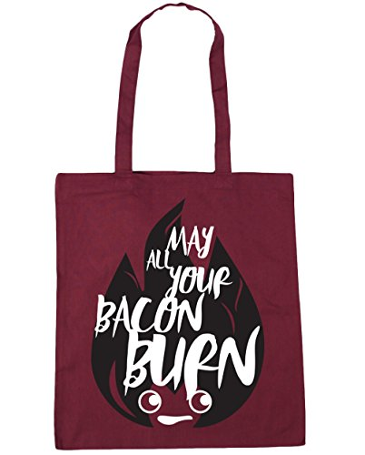 HippoWarehouse May Alle Ihre Bacon Brennen Einkaufstasche Fitnessstudio Strandtasche 42cm x38cm, 10 liter - Weinrot, One size