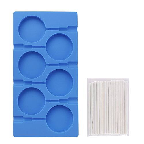 Lollipop Mold, Beasea 6 Cavity Hard Candy Molds DIY Lollipop Silicone Cake Chocolate Molds Fondant Ice Ball and Handmade Soap Maker Kitchen Tray with 50 Lollipop Sticks