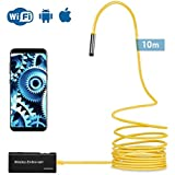 YIERBLUE Wireless Endoscope, 10M Yellow Semi-Rigid WiFi Borescope Inspection Camera 2.0 Megapixels HD Snake Camera for Android and iOS Smartphone, iPhone, Samsung, Tablet