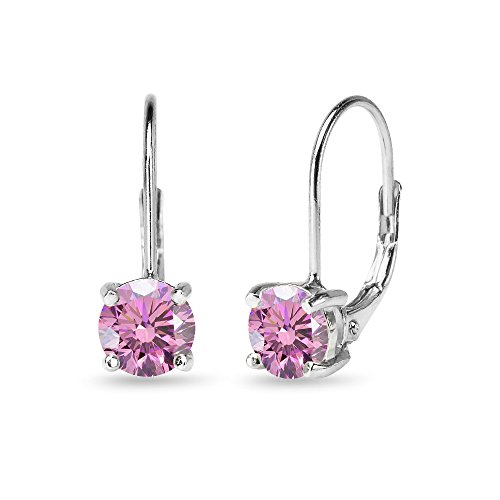 Sterling Silver Light Rose Round-cut Leverback Earrings Made with Swarovski Crystals