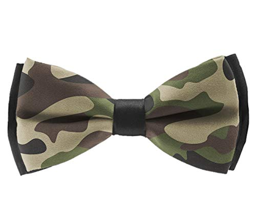 (L Wright-King Men Green Brown Camo Bow Tie Party Banquet Bowtie Wedding Accessories)