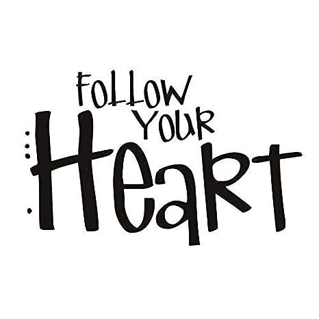 Siga su corazón calcomanías de vinilo letras extraíbles ...