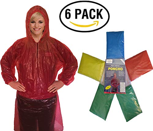 Rain Poncho for Adults (6 Pack) | Drawstring Hood and Elastic Sleeve Ends | Thicker Material | Emergency Disposable Rain Poncho | Assorted Colors | 100% Waterproof ()