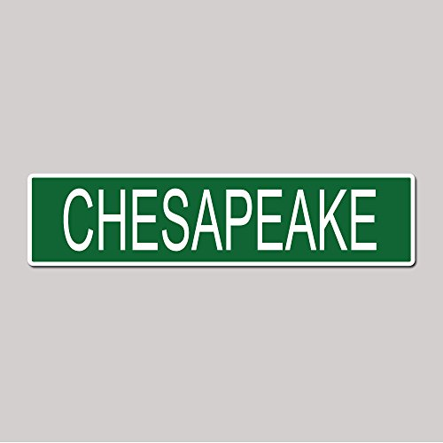 - CHESAPEAKE City Pride Green Vinyl on White - 4X17 Aluminum Street Sign