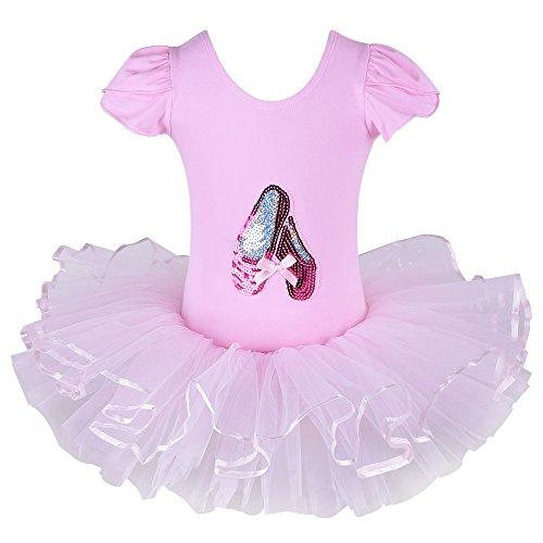 Dance Costumes Rhinestone Ideas (Kids Rhinestone Sparkle Dance Costumes Short Sleeve Tutu Ballet Dress for Little Girls 3-8 Years B029_Pink_L)