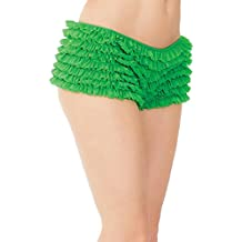 Coquette Women's Plus Size Elegant Ruffle Shorts With Back Bow Detail Green Queen