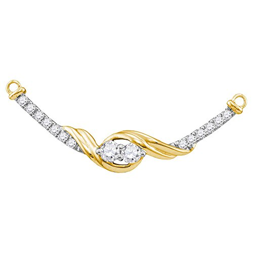 Bar Pendant 14kt Gold Jewelry - 14kt Yellow Gold Womens Round Diamond 2-stone Hearts Together Bar Pendant Necklace 1/3 Cttw