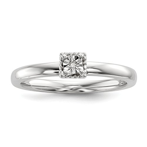 ICE CARATS 925 Sterling Silver .01ct. Diamond Square Shape Band Ring Size 8.00 Fine Jewelry Gift Set For Women Heart