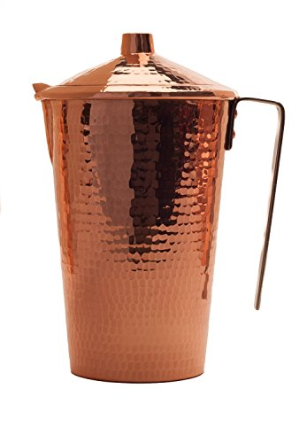 Sertodo Copper WPL-48 Gangotri Ayurvedic Water Pitcher with Stainless Steel Handle and Lid, Hand Hammered 100% Pure Copper, 48 oz