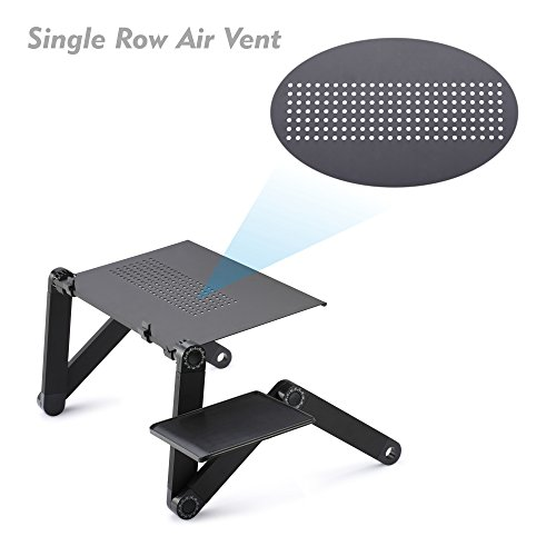 Desk Laptop Stand for Bed and Sofa, Cozy Desk Portable Adjustable Laptop Table Stand Up/Sitting with 2 CPU Fans and Mouse Pad
