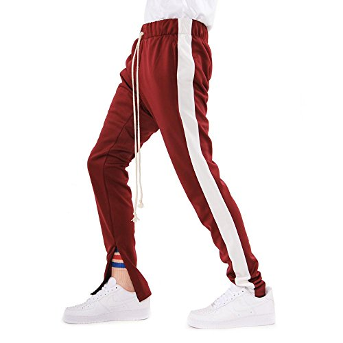 EssentialSix Hip Hop Style Fitted Striped Jogger Track Pant W Drawstring (Extra Large, Red w/White - Hop Strings Hip