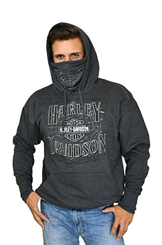 Harley Hoodie (Harley-Davidson Mens Web H-D with Mask Pullover (Large))