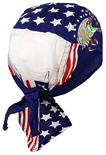 Buy Caps and Hats Patriotic American Flag Skull Cap Headwrap One Size Multicolor (One Size, Bald Eagle Patriot)