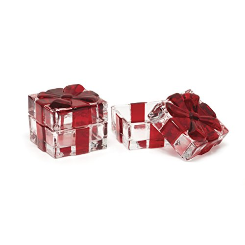 Celebrations by Mikasa Holiday Treats Crystal Covered Gift Box with Ruby Red Ribbon, Set of 2