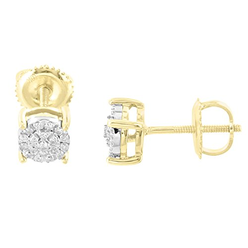 10k Yellow Gold Earrings 5mm Studs Custom Solitaire Real Diamonds Studs Brand New by Master Of Bling