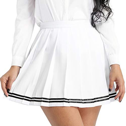 MSemis Women's School Uniforms Pleaded Mini Skirts High Waisted Flared Sport Skater Skirts Plus Size White XX-Large]()