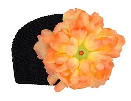 Black Crochet Hat with Orange Large Peony, Size: 12-18m (Peony Crochet Black)