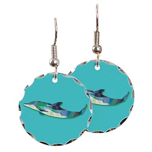 - Earring Circle Charm Triangle Dolphin