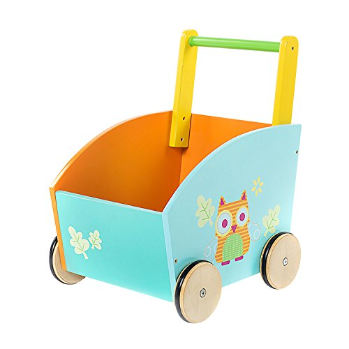 labebe Baby Walker with Wheel, Orange Owl Printed Wooden Push Toy, 2-in-1 Wooden Activity Walker for Baby 1-3 Years, Walker Infant/Activity Walker/Baby Wagon/Learn Walker/Push Cart Toy/Wood Walker