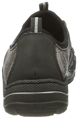 altsilber Noir altgold Femme Rieker 01 Baskets schwarz schwarz Basses L0559 a7BIRx0