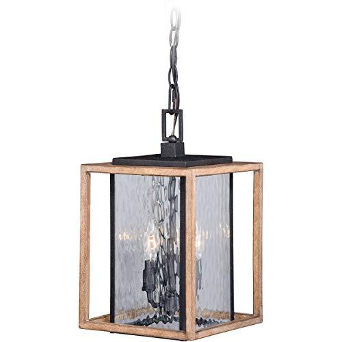Outdoor Pendant 3 Light Fixtures with Textured Dark Bronze and Distressed Oak Finish Steel Material Candelabra 9
