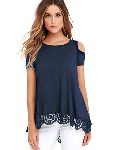 (ZEGOLO Women's Cold Shoulder Tops Short Sleeve Lace Trim O-Neck A-Line Tunic Blouse Navy Blue X-Large)