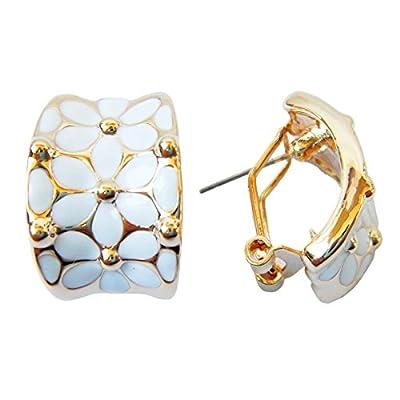 Navachi 18k Gold Plated Square Rainbow White Enamel Omega Az1936o Earrings