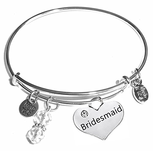 Message Charm (22 words to choose from) Expandable Wire Bangle Bracelet, in the popular style, COMES IN A GIFT BOX! (Bridesmaid)]()