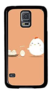 Case Shell for Samsung Galaxy S5 Covered with Hen and Eggs,Customized Black Hard Plastic Cover Skin for Samsung Galaxy S5 I9600,Funny iPhone 4 4S Case