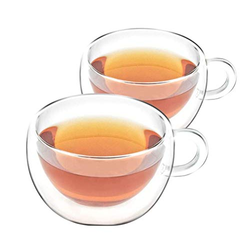 VAHDAM - Double Walled Insulated Cup (2 Pieces) Clear Glass Tea Cups Coffee Mugs- 200 ml Capacity, DURABLE & STYLISH - 2 Pieces, Tea Cup Set - Dishwasher, Microwave & Refrigerator Safe (SHIMMER)