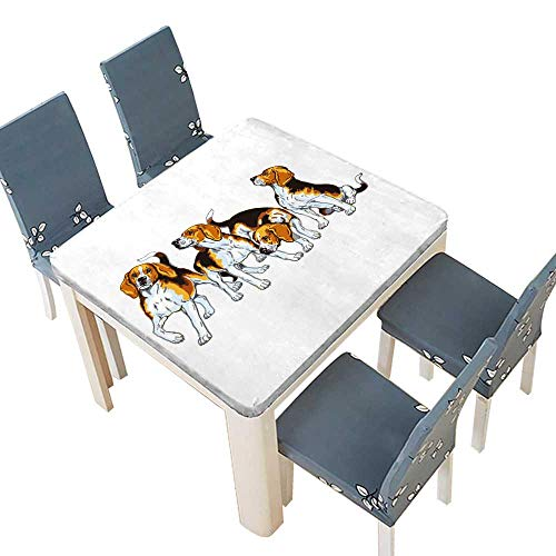 - PINAFORE Printed Fabric Tablecloth Four Beagle Hounds Hunting Dogs Breed Wedding Birthday Baby Shower Party 65 x 65 INCH (Elastic Edge)