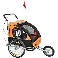 Remolque para Niños DOS PLAZAS con Amortiguadores Carro para Bicicleta CON BARRA INCLUIDA y Kit de Footing COLOR NARANJA Y NEGRO