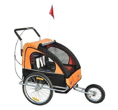 Remolque para Niños DOS PLAZAS con Amortiguadores Carro para Bicicleta CON BARRA INCLUIDA y Kit de Footing COLOR NARANJA Y NEGRO: Amazon.es: Bebé